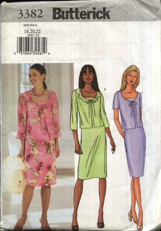 Butterick Sewing Pattern 3382 Misses Size 12-16 Easy Sleeveless Straight Dress Tie Front Jacket