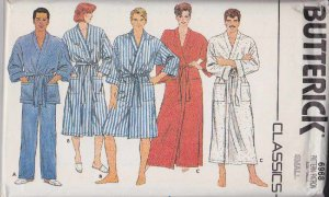 Butterick Sewing Pattern 6968 Unisex Misses Mens  Size 34-36&quot; Front Wrap Robe Pajama Pants