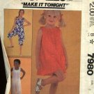McCall's Sewing Pattern 7980 Girls Size 3 Sundress Summer Dress Jumpsuit Romper