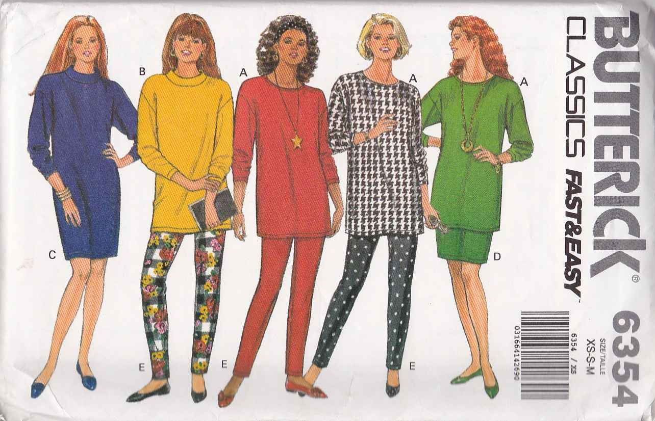 Butterick Sewing Pattern 6354 Misses Size 6-14 Easy Classic Knit Tops Straight Skirt Dress Pants