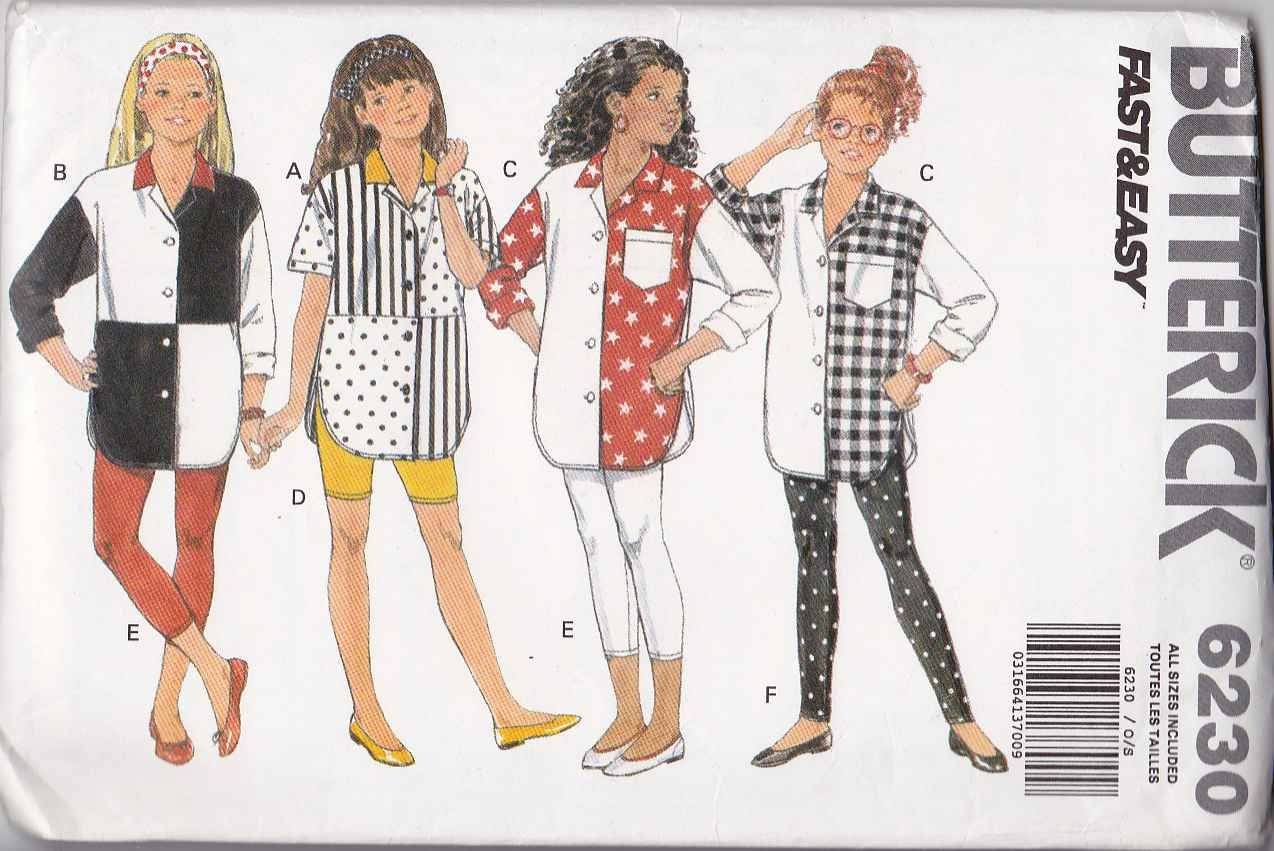 Butterick Sewing Pattern 6230 Girls Size 7-14 Easy Big Contrast Shirt Knit Shorts Leggings
