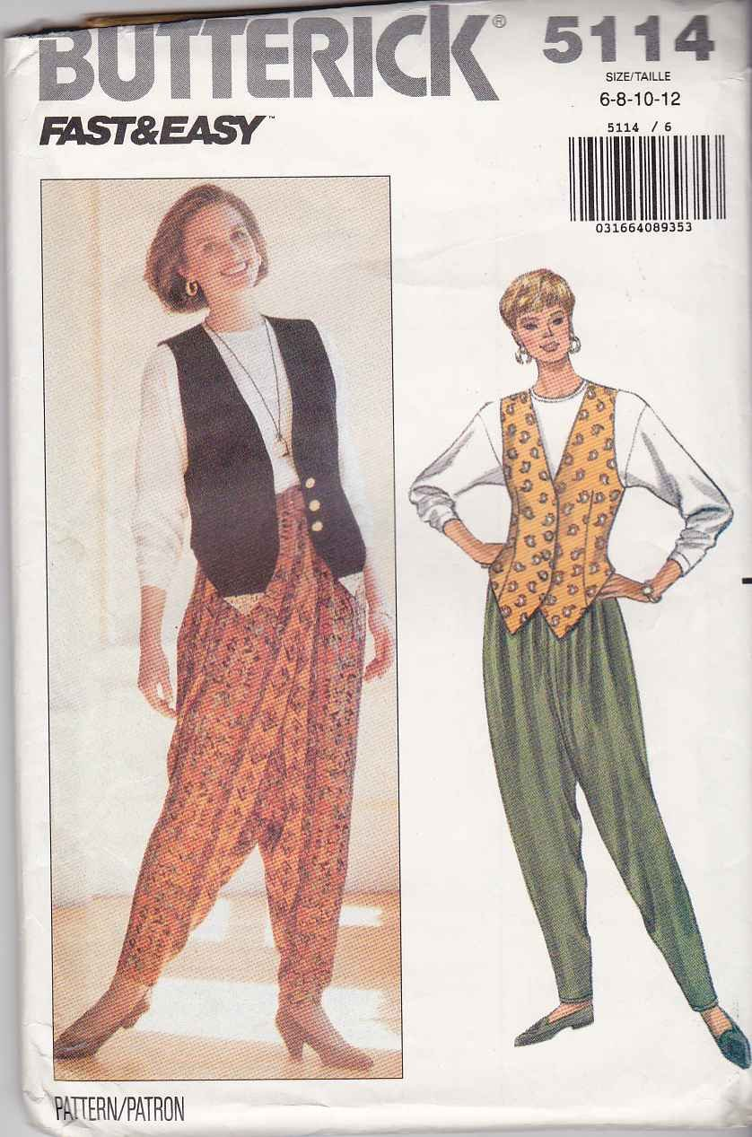 Butterick Sewing Pattern 5114 Misses Size 6-12 Easy Long Sleeve Top Vest Harem Pants