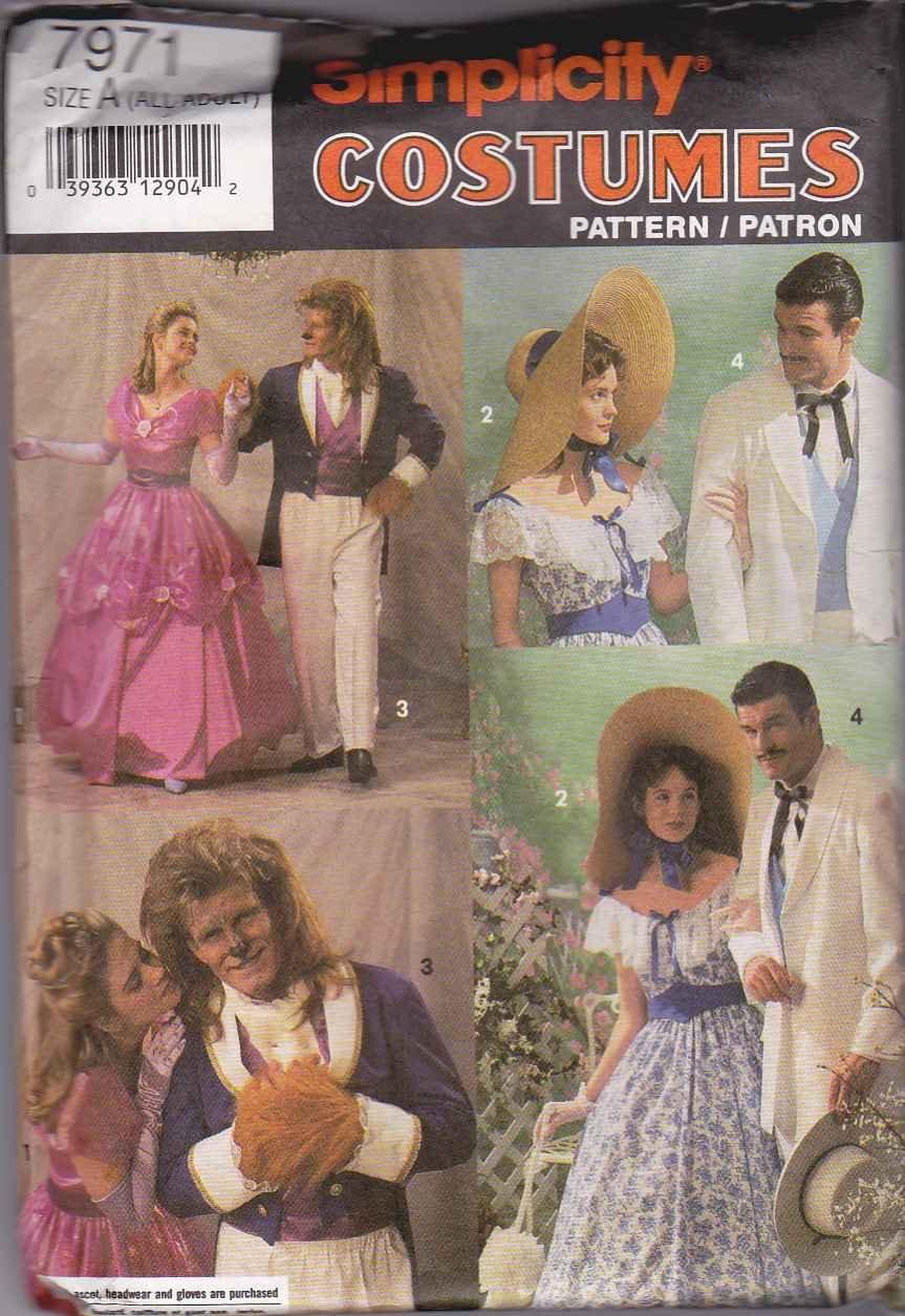 Simplicity Sewing Pattern 7971 0642 Men's Misses Costume Rhett Butler Scarlett Beauty Beast