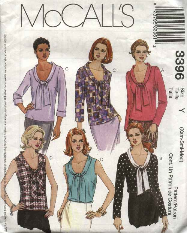 McCall's Sewing Pattern 3396 Misses Size 16-22 Sleeveless Long Sleeve Bow Tie Blouses Tops