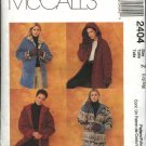McCall's Sewing Pattern 2404 Misses Size 16-22 Reversible Button Front Fleece Hooded Jacket