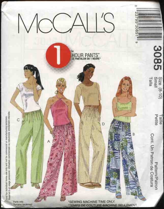 McCall's Sewing Pattern 3085 Misses Size 12-14 Drawstring Wide Straight Leg Long Pants