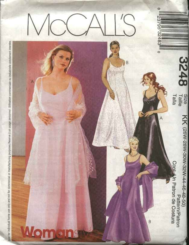 McCall's Sewing Pattern 3248 Womens Plus size 22W-28W Evening Gown Formal Dress Shawl