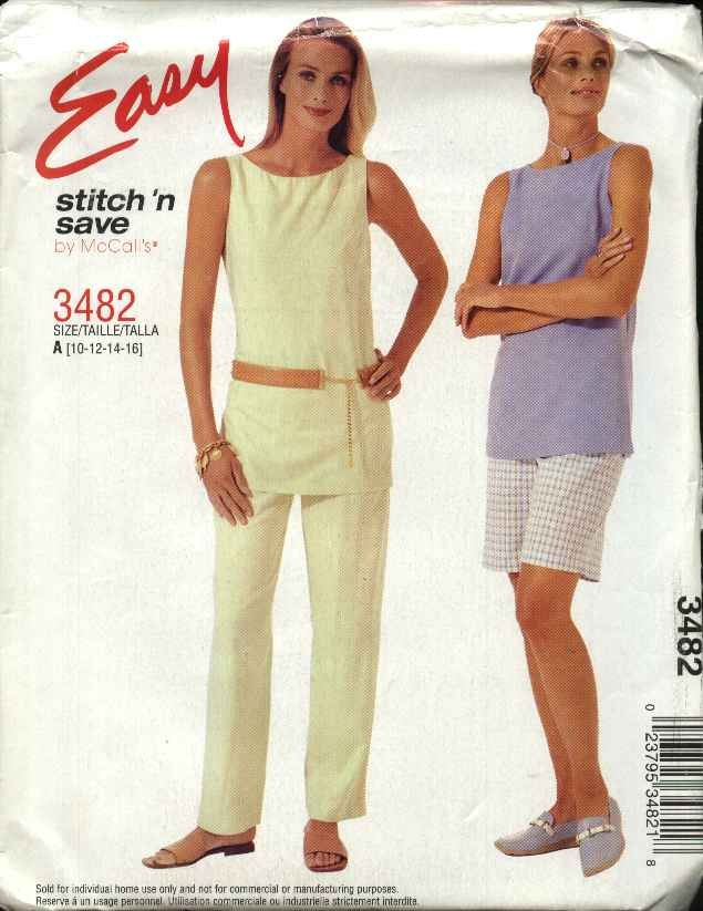 McCall's Sewing Pattern 3482 Misses Size 18-24 East Pullover Sleeveless Top Long Pants Shorts