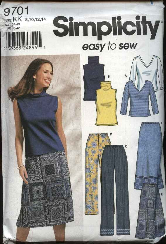 Simplicity Sewing Pattern 9701 Misses Size 16-24 Easy Wardrobe Knit Tops A-Line Skirt Pants