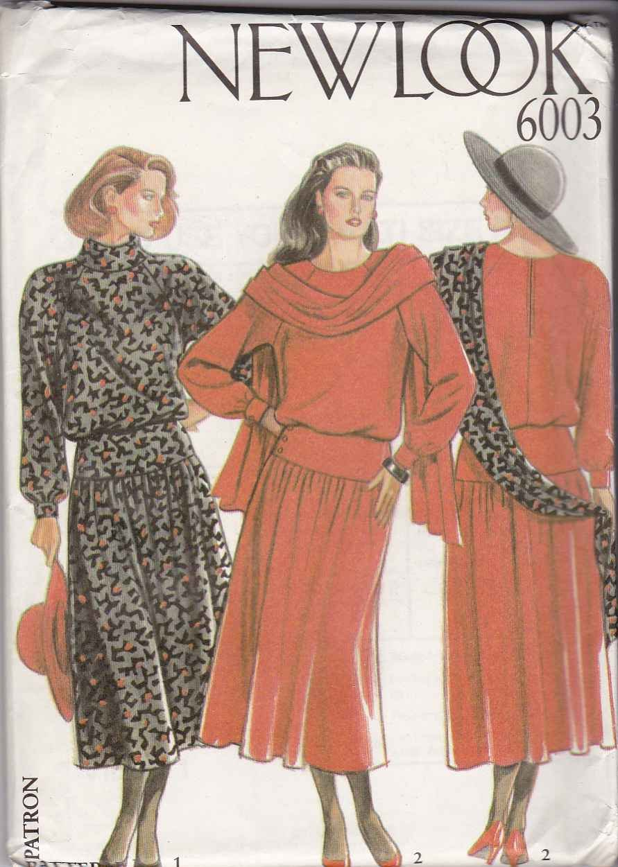 New Look Sewing Pattern 6003 Misses Size 8-18 Dropped Waist Raglan Long Sleeve Dress Scarf