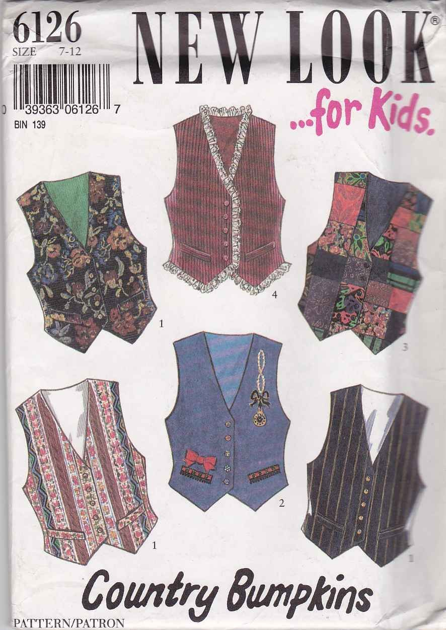 New Look Sewing Pattern 6126 Girls Size 7-12 Button Front Lined Vests Trim Options