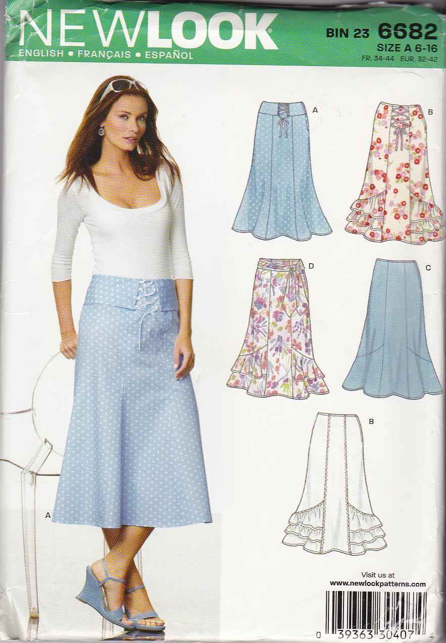 New Look Sewing Pattern 6682 Misses Size 6-16 Gored Skirt Hemline Ruffles Drapes Ties