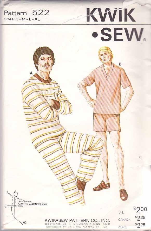 Kwik Sew Sewing Pattern 522 Mens Chest Size 34-48  Pajamas Pyjamas Long Summer Winter