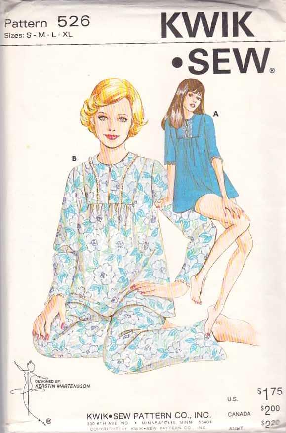 Kwik Sew Sewing Pattern 526 Misses Size S-XL  Long Short Baby Doll Pajamas Top Pants Pyjamas