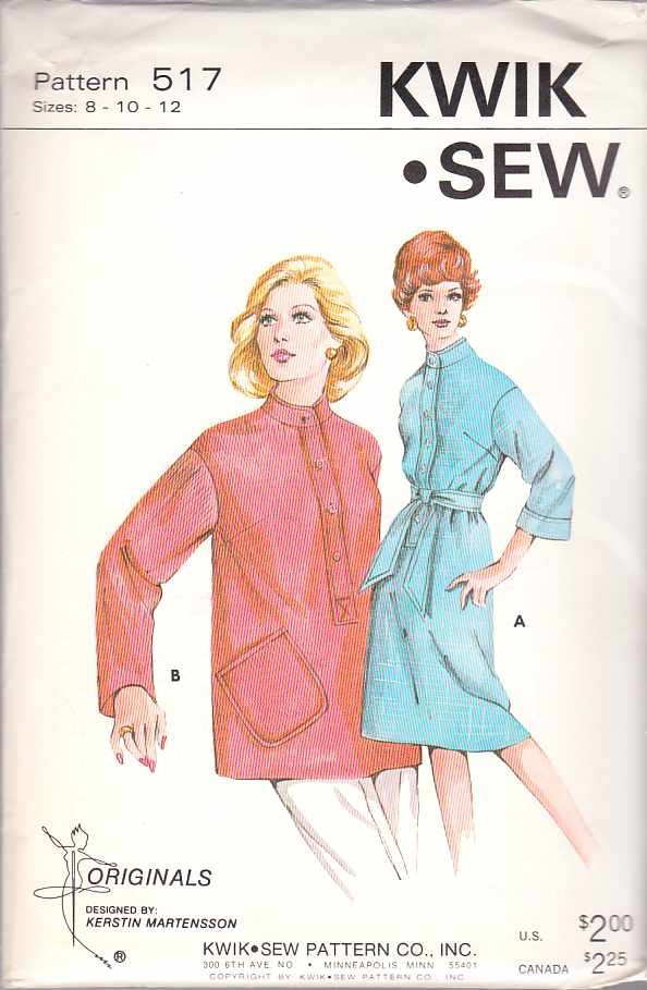 Kwik Sew Sewing Pattern 517 Misses Size 8-10-12  Pullover Dress Top Knit Woven Fabric