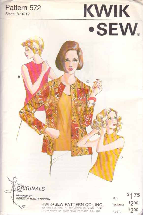 Kwik Sew Sewing Pattern 572 Misses Size 8-10-12  Twin Set Shell Sleeveless Top Long Sleeve Jacket