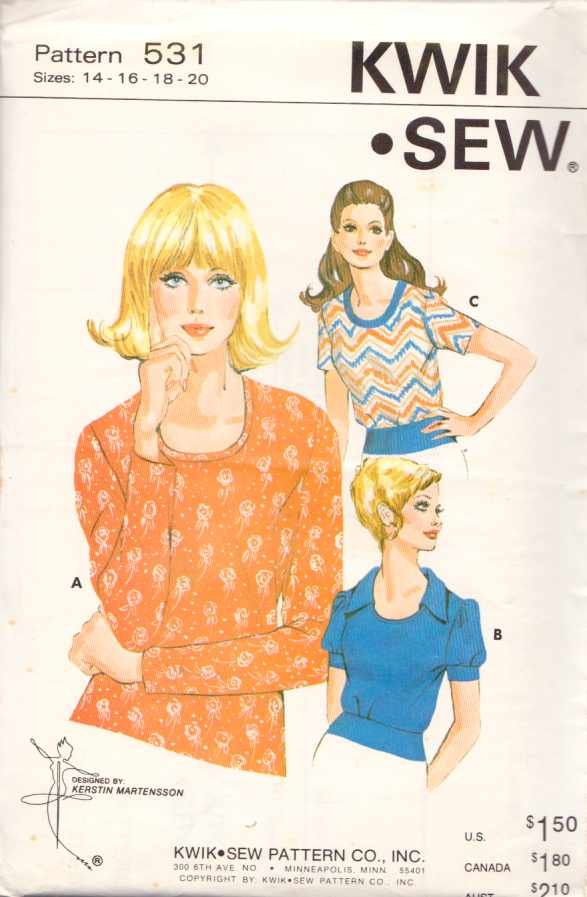 Kwik Sew Sewing Pattern 531 Misses Size 14-16-18-20 Pullover Knit Stretch Tops Sleeve Options
