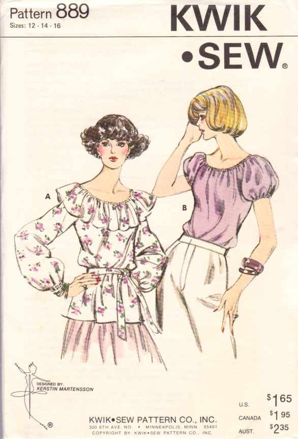 Kwik Sew Sewing Pattern 889 Misses Size 12-14-16 Pullover Peasant Tops Sleeve Neckline Options