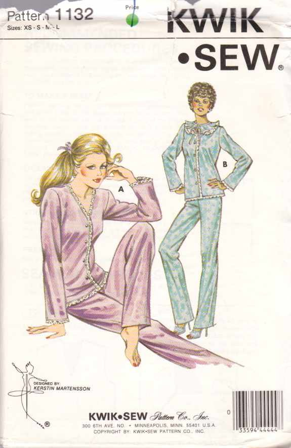 Kwik Sew Sewing Pattern 1132 K1132 Misses Size XS-L Tricot Pajamas Long Pants Button Front Top