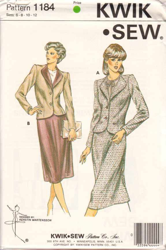 Kwik Sew Sewing Pattern 1184 Misses Size 6-8-10-12 Lined Jacket Skirt Suit