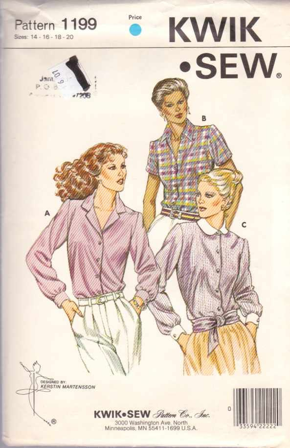 Kwik Sew Sewing Pattern 1199 Misses Size 14-16-18-20 Classic Button Front Blouse Shirt Top