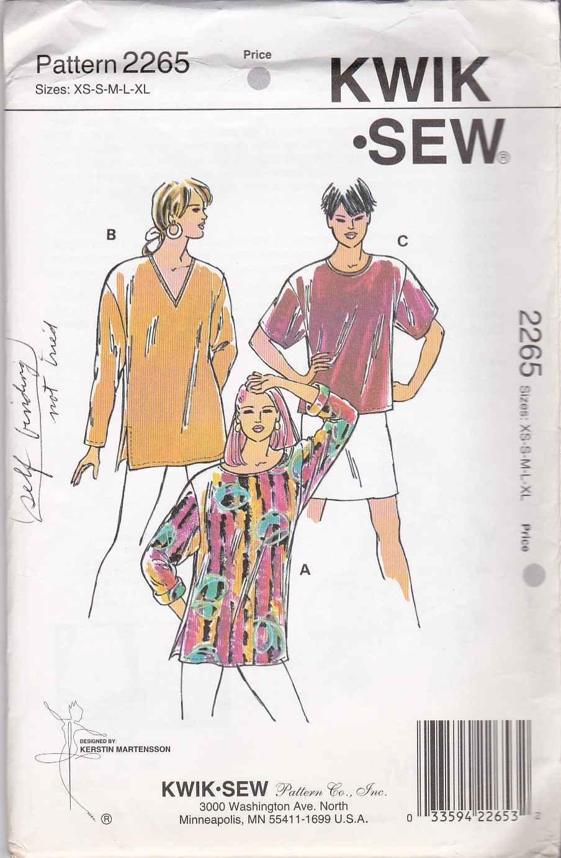 Kwik Sew Sewing Pattern 2265 Misses Size XS-XL (approx. 6-22) Pullover Tops Tunics