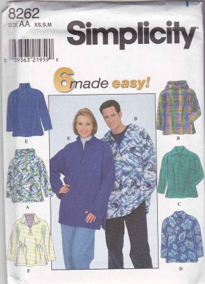 82eec90fbc40 Simplicity Sewing Pattern 8262 Misses  Mens Unisex Sizes 30-40 Fleece Pullover  Jacket Hoodie