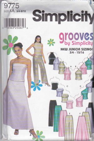 Simplicity Sewing Pattern 9775 Juniors&#039; Sizes 3/4-9/10 Formal Prom Skirt Pants Bodice Tops