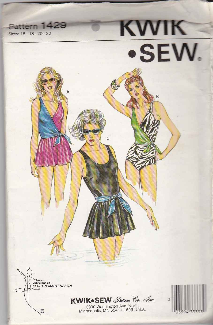 Kwik Sew Sewing Pattern 1429 Misses Size 16-22 Swimsuit Bathing Swimming Suit Maillot Skirted