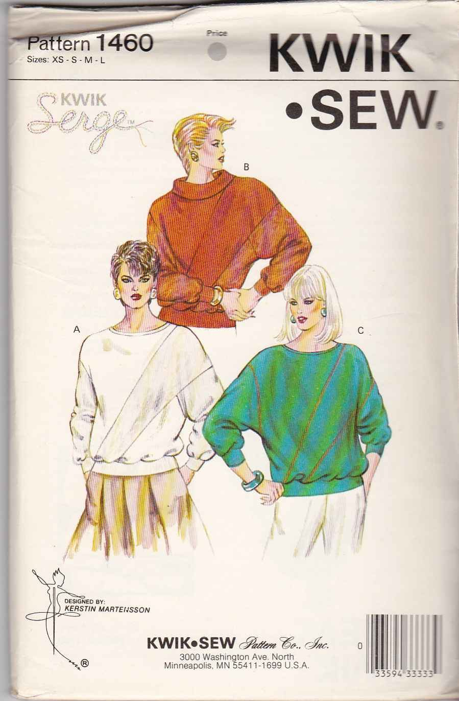 Kwik Sew Sewing Pattern 1460 Misses Size XS-L Pullover Long Dolman Sleeve Top