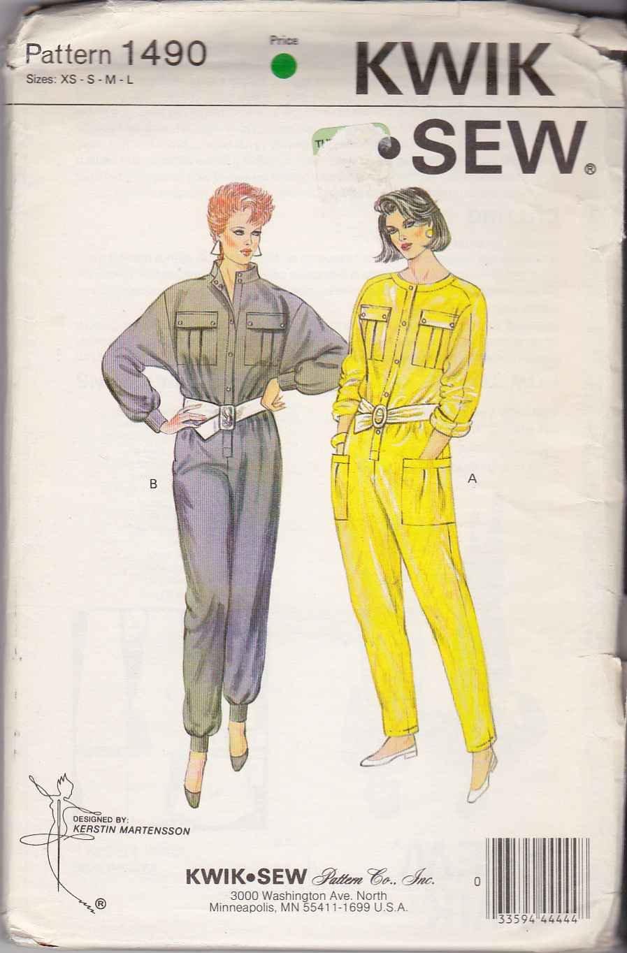 Kwik Sew Sewing Pattern 1490 Misses Size XS-L Long Sleeve Jumpsuit Patch Pockets