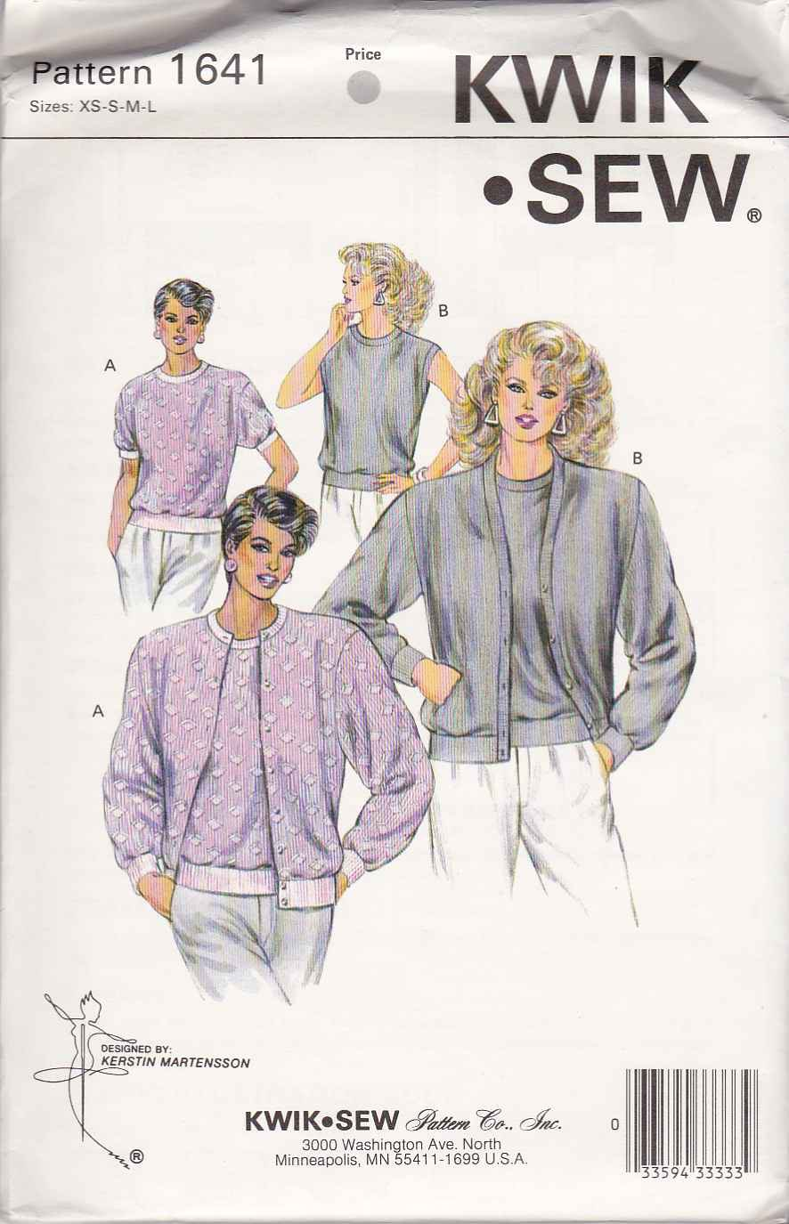 Kwik Sew Sewing Pattern 1641 Misses Size XS-L Classic Twin Set Knit Cardigan Shell Top