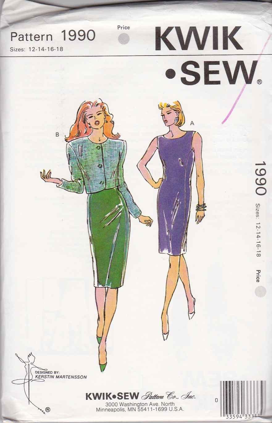 Kwik Sew Sewing Pattern 1990 Misses Size 12-18 Sleeveless Princess Seam Sheath Dress Jacket