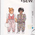 Kwik Sew Sewing Pattern 2074 Toddler Girls Size T1-T4 Jumpsuit Romper Sleeve Neckline Options