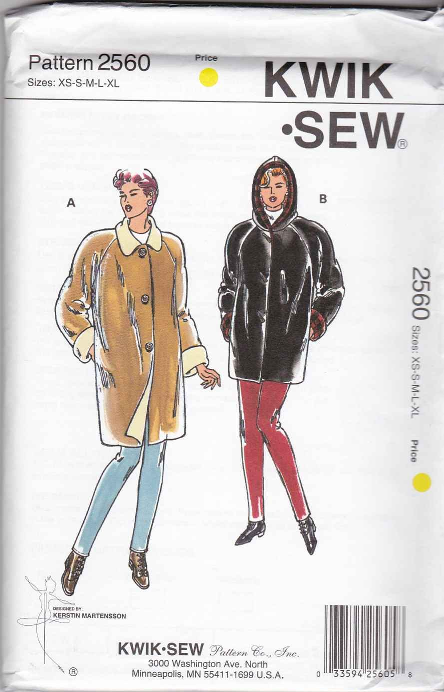 Kwik Sew Sewing Pattern 2560 Misses Size XS-XL Raglan Sleeve Reversible Hooded Coat Jacket