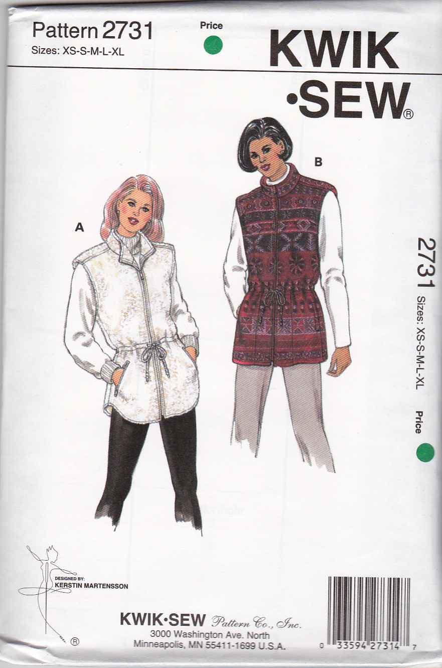 Kwik Sew Sewing Pattern 2731 Misses Size XS-XL (6-22) Zipper Front Lined Knit Fleece Vests