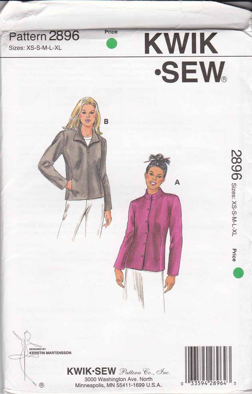 Kwik Sew Sewing Pattern 2896 Misses Size XS-XL (approx 6-22) Long Sleeve Button Zipper Front Jacket
