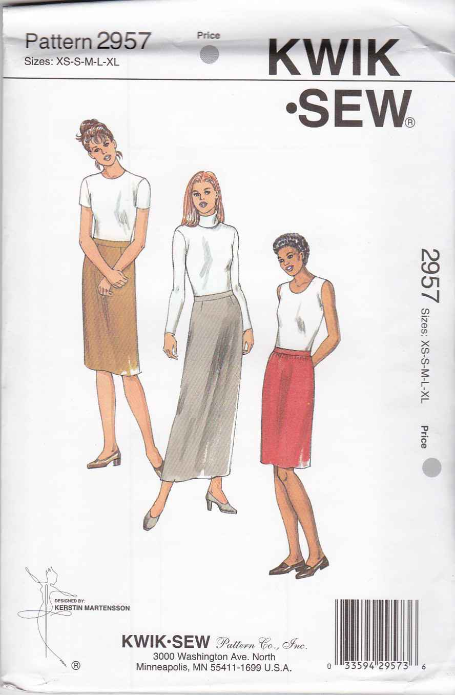 Kwik Sew Sewing Pattern 2957 Misses Size XS-XL (approx 6-22) Fitted Lined Straight Skirts