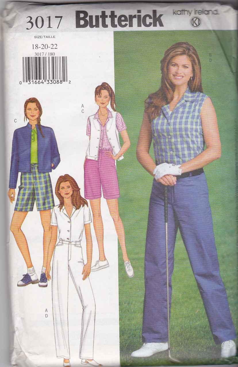 Butterick Sewing Pattern 3017 Misses Size 18-22 Easy Wardrobe Pants Shorts Vest Jacket Shirt
