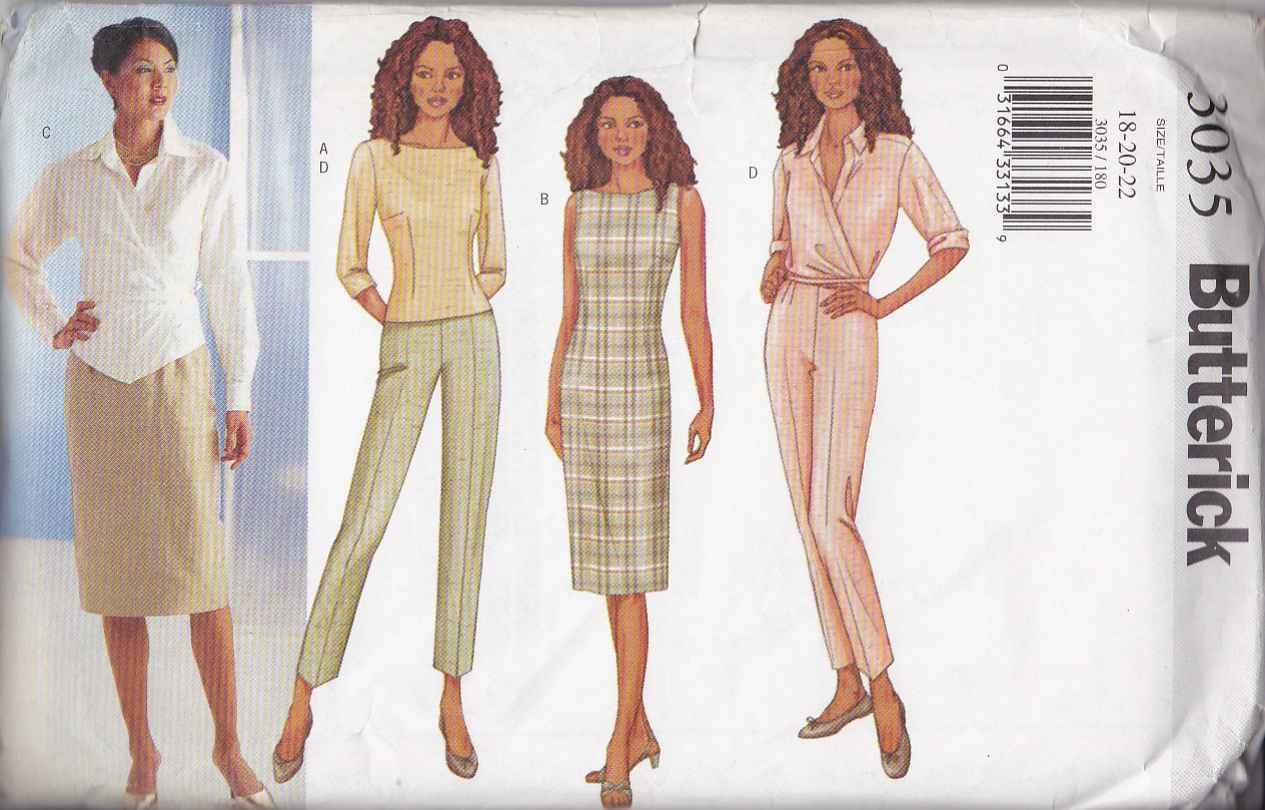 Butterick Sewing Pattern 3035 Misses Size 18-22 Easy Wardrobe Top Dress Skirt Pants Shirt