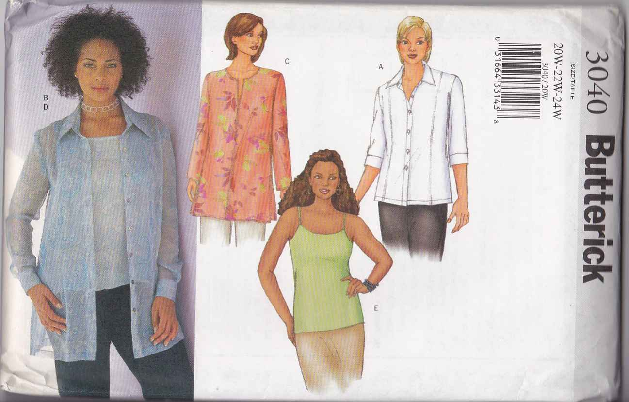 Butterick Sewing Pattern 3040 Women's Plus Size 20W-24W Easy Blouse Tunic Camisole Twin-Set