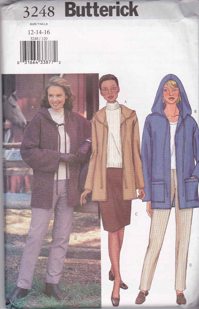 Butterick Sewing Pattern 3248 Misses Size 18-22 Easy Hooded Fleece Jacket Skirt Pants