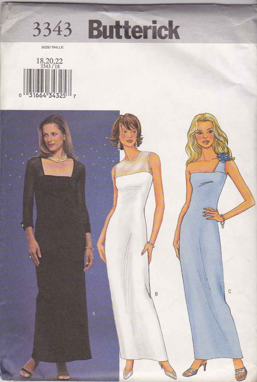 Butterick Sewing Pattern 3343 Misses Size 18-22 Formal Straight Knit Dress Evening Prom Gown