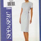 Butterick Sewing Pattern 3364 Misses Size 18-22 Easy Short Sleeve Straight Lined Dress