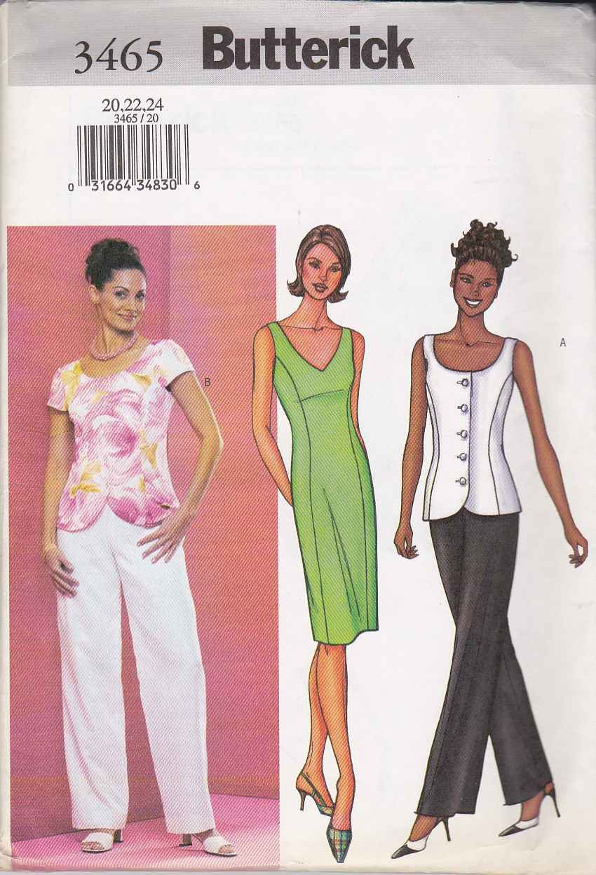 Butterick Sewing Pattern 3465 Misses Size 20-24 Easy Princess Seam Straight Dress Top Pants