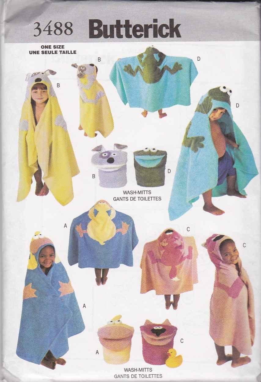 Butterick Sewing Pattern 3488 Childs One Size Bath Accessories Decorate Towel Wash Mitt