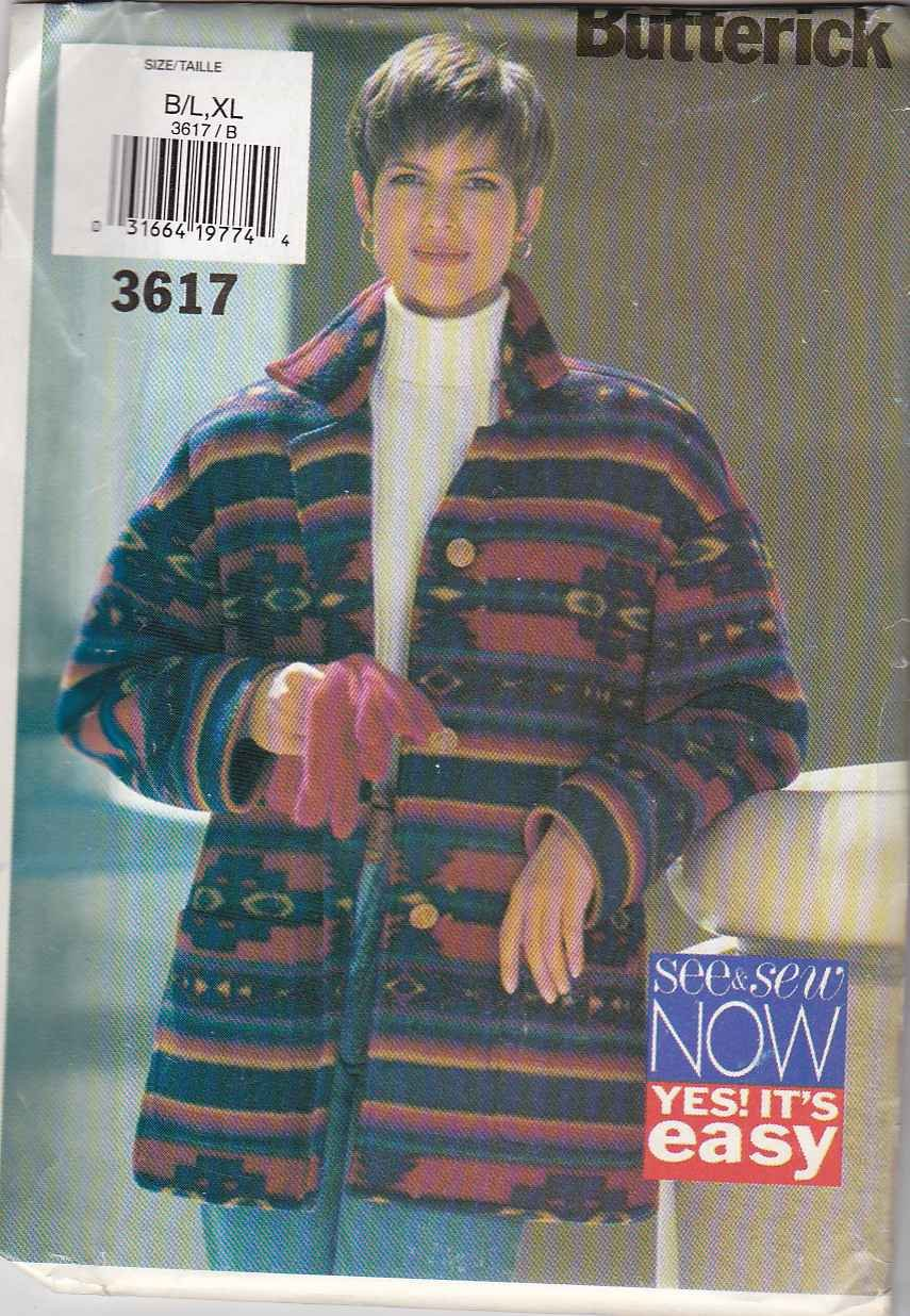 Butterick Sewing Pattern 3617 Misses Size 16-22 Easy Button Front Lined Fleece Wool Jacket