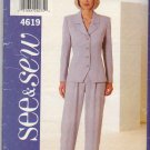 Butterick Sewing Pattern 4619 Misses Size 18-22 Easy Pantsuit Button Front Jacket Pants Top