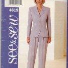 Butterick Sewing Pattern 4619 Misses Size 18-22 Easy Pantsuit Button Front Jacket Pants Top