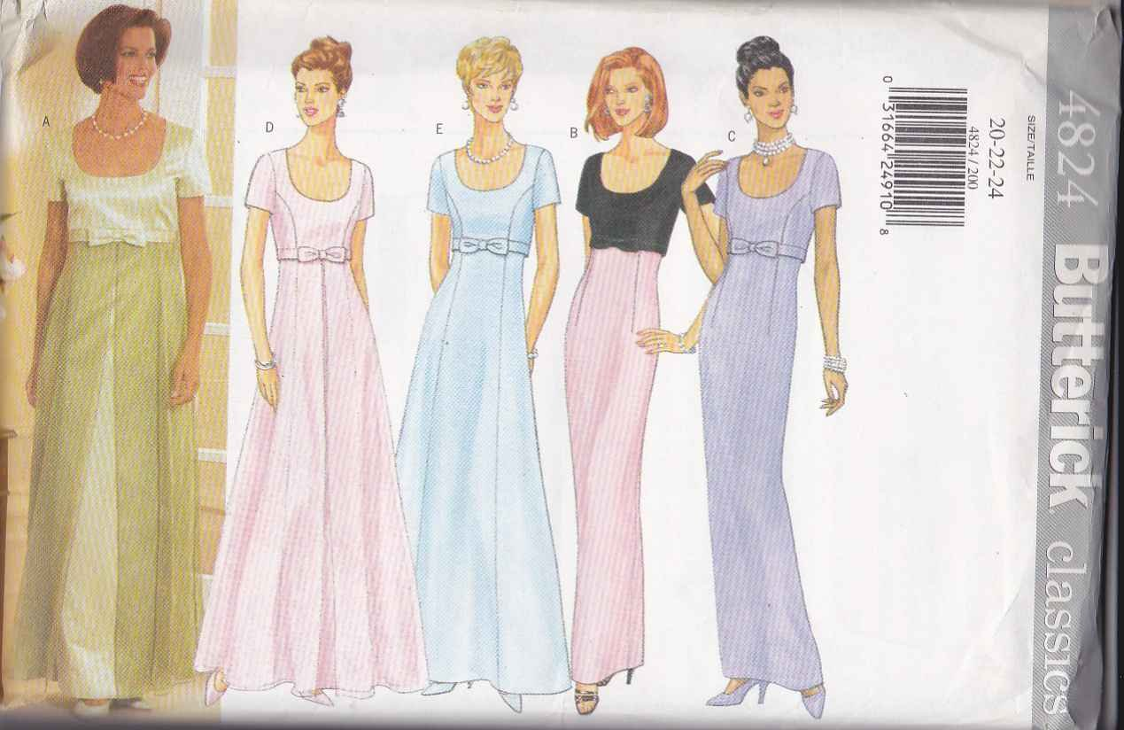 Butterick Sewing Pattern 4824 Misses Size 20-24 Easy Classic Formal Empire Dress Evening Prom